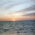 De zon gaat onder in het Skagerrak