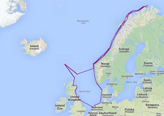 Overzicht van de totale route 2005