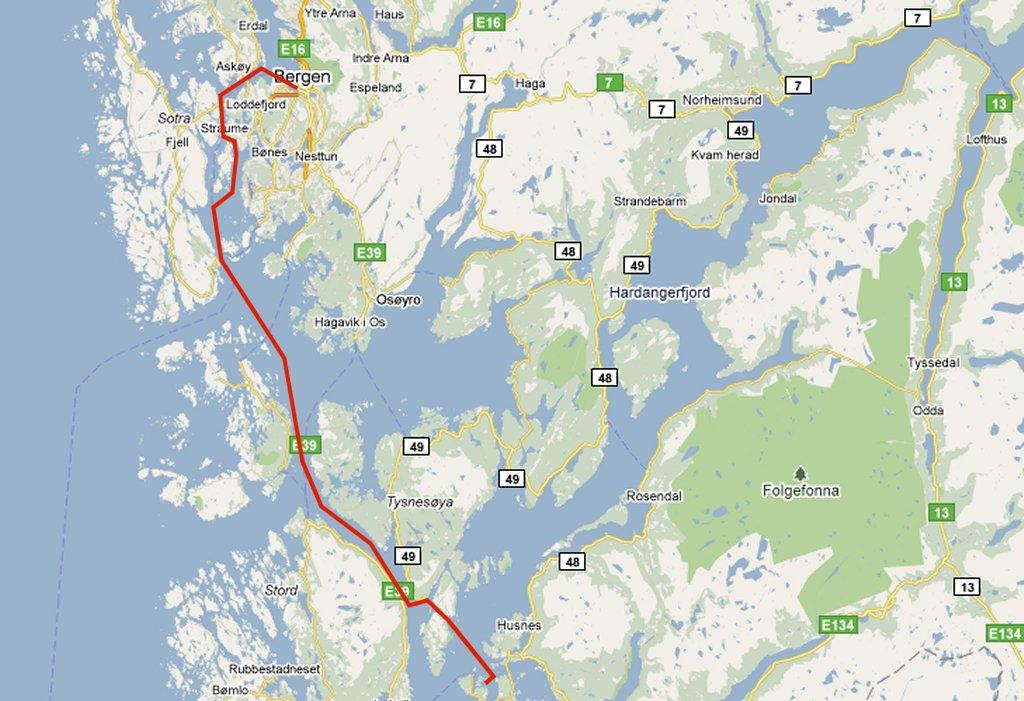 traject Lykkelsoy - Bergen