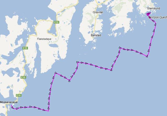 Marinetraffic heeft  de slagen die we hebben gemaakt netjes geregistreerd!
