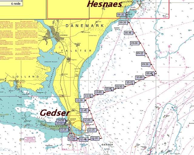 Route Hesnes-Gedser