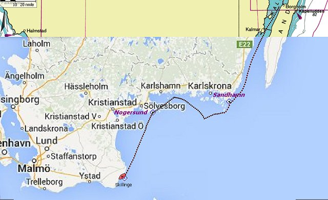 Van Borgholm via Sandhamn en Nogersund naar Skillinge