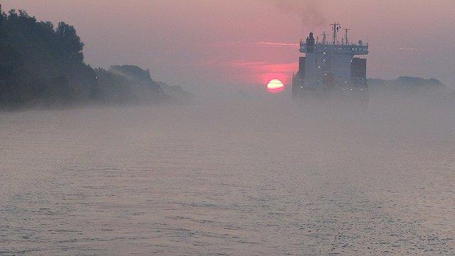 's morgens komt de zon op in de mist